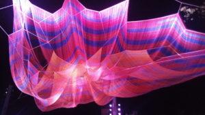 Net art installation over LeBauer Park in downtown Greensboro